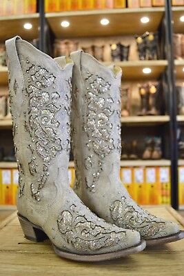 Corral Ladies White Glitter Inlay And Crystals Snip Toe Wedding Boots A3322 SALE](Cowboy Boot Wedding)