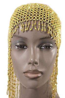 Women Head Hair Piece Fashion Gold Beads Hat Elastic Long Fringe Hot Accessories