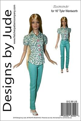 Summer Doll Clothes Sewing Pattern for 16