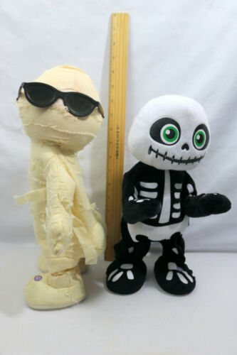 "Halloween Animated Dancing 13"" Mummy & Skeleton Animated Plush Lot - ID#0301"