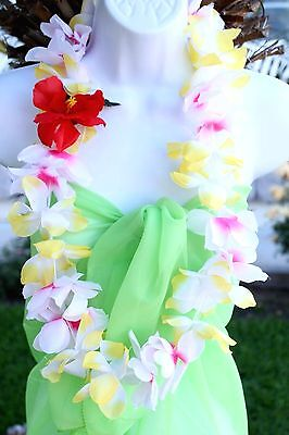 SIX Hawaiian Silk Flower Lei Luau Party Hula Necklace ~ YELLOW WHITE QTY 6 LEIS