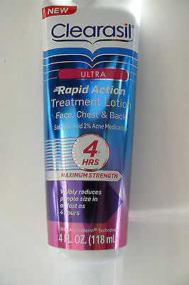 Clearasil Ultra Rapid Action Treatment 4 oz FOR FACE NECK & BACK max strength