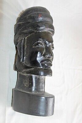 Antique Bust African Ebony Carved of Années 70