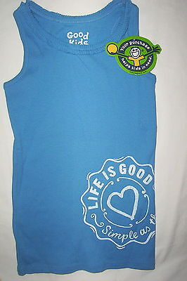 NWT Life is Good  Girls tank top shirt-beachhouse blue-medium 7-8 Life Is Good Girls Tank Top