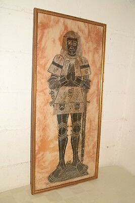 """CLAPHAM CHAPEL Vintage MEDIEVAL KNIGHT Framed BRASS RUBBING Dated/Signed 40""""x18"""""""