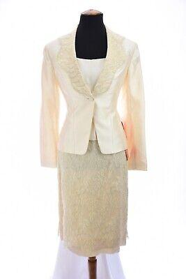 Barrie Pace Womens vtg Lace Silk Cotton Skirt Suit Set Cami Jacket Ivory Sz 6 - Wholesale Womens Suits
