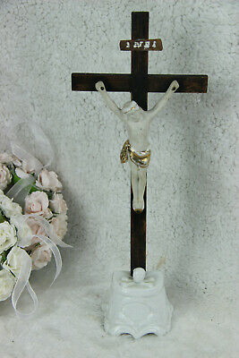 Antique French Crucifix religious cross Ecce Home skull porcelain