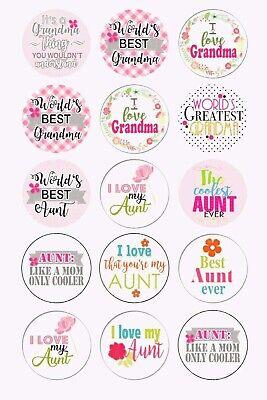 Aunt Grandma Mother's Day 1 inch 15 pc Precut Bottle Cap Images Best Aunt
