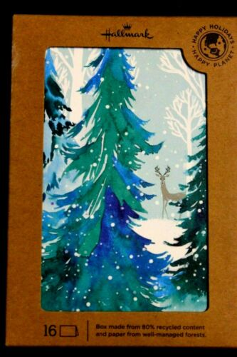 16 cards HALLMARK CHRISTMAS CARDS SNOWMAN WITH WREATH Rain Deer tree