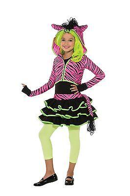 Girls ZEBRA Costume NEON Pink Print Striped Halloween Fancy Dress Childs - Zebra Print Halloween Costumes