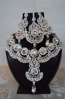 Ethnic Indian Bollywood Designer White Bridal Fashion Jewelry Necklace Set