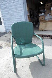 Vintage 1950s Pair Metal Motel Patio Chairs Green Indianapolis