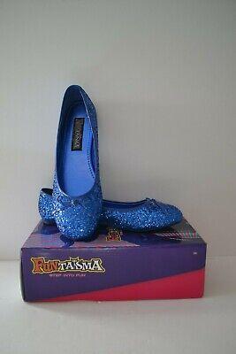 Ballet Halloween Costumes (Women's Blue Glitter Ballet Flats Halloween Costume Flat Shoes SIZE 9)