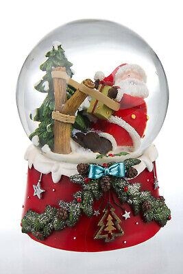 Palla di Vetro con Neve Natalizia Babbo Natale Regali Fionda Carillon Musica
