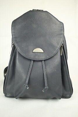 Vintage Arezzo Dark Blue Faux Leather Backpack Shoulder Bag Side Access