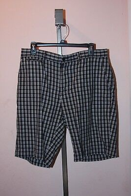 Men's Young Men Shorts Size 34 Black White Plaid Flat Front Polo Ralph Lauren