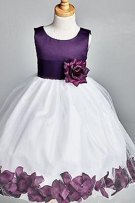 Flower Girl Bridesmaids Wedding Top Solid Plum Petal Girl...