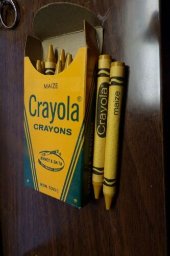 Full Box of 12 Vintage Crayola MAIZE Crayons Rare Retired Color NEW IN BOX NOS