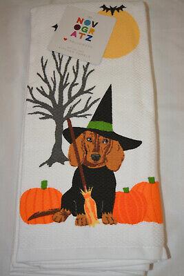 NOVOGRATZ HALLOWEEN DOG WITCH DESIGN SET OF 2 KITCHEN DISH TOWELS TOWEL NWT