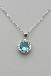.925 Sterling Silver Aquamarine CZ Halo Pendant Necklace - March Birthstone
