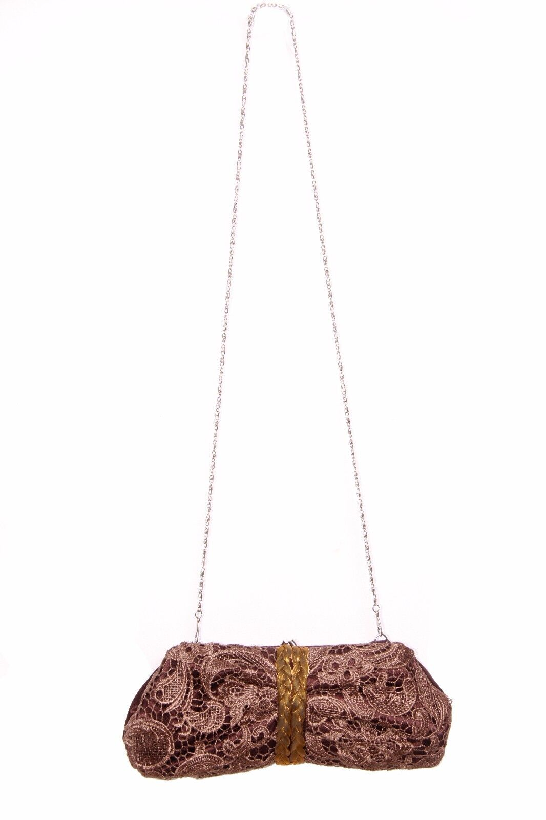 66b14551290 Vintage Style Brown Clutch Bag W Metallic Shoulder Chain Lace and Braids  (S259)