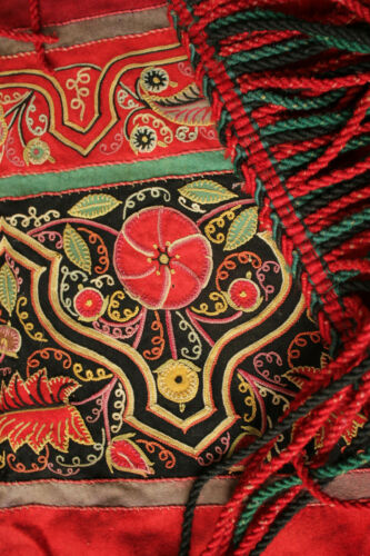 Embroidered tapestry SIGNED antique textile red ground beautiful floral details