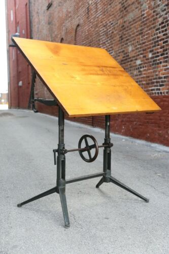 Antique Drafting Table Cast Iron Cranking Industrial Office Desk Wood Table Top