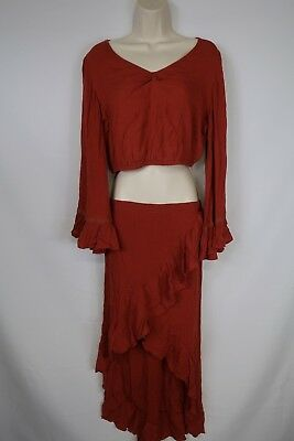 Women's Earthbound Size Large Red 2 Piece Gypsy Outfit Crop Top Ruffle - Gypsy Outfit