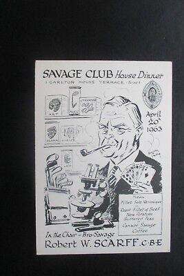 1963 THE SAVAGE CLUB MENU CARD HARRY RILEY CARTOON CARICATURE ROBERT SCARFF