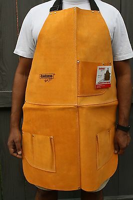 Leather Welding Apron Heat Resistant Work Safety Insulated Bib With Pockets 34