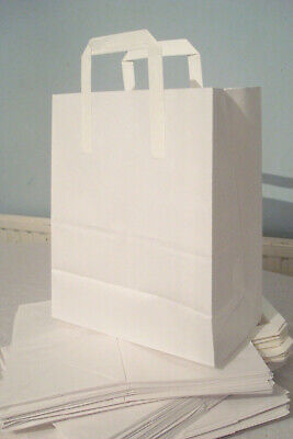 65 White Kraft Paper Food Carrier Bags with Handles 12 x 10 x 5.5 inches