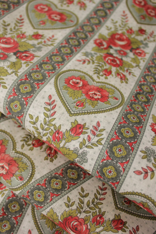 Vintage Fabric Floral & Heart Printed Cotton Yardage UNUSED light weight yards