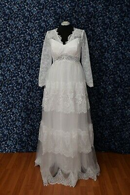 Lace Long Sleeve Back Laced Tiered Wedding Dress NWOT sz 14, 18, -