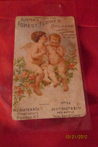 Victorian Trade Card  Forest Flower Cologne W J  Austen & Co  Owego NY