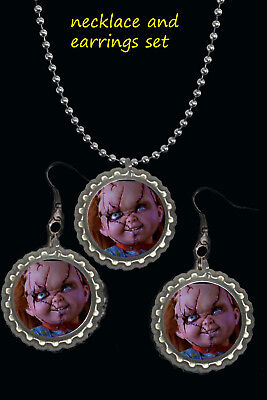 Chucky scary Halloween earring and necklace set great gift a must have  - Have A Scary Halloween