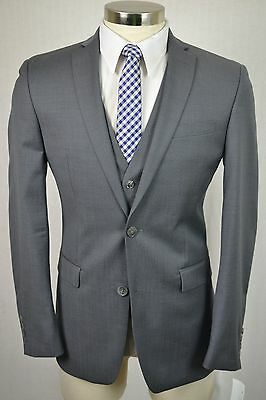 (38R) Bar III Men's Gray Wool SLIM FIT Flat Front 3 Piece Suit w/ Vest (32x30)