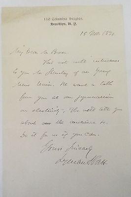 Lyman Abbott 1894 ALS
