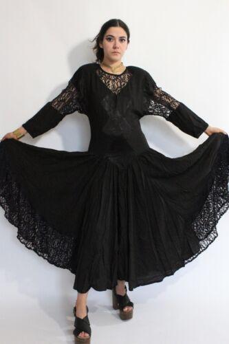 VTG 80s Jon Wesley Lace Ultra Draped Full Sweep Gothic Glam Rock Midi Dress S/M