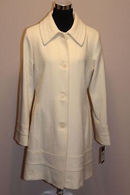 $1049 NWT FLEURETTE STUDIO Parchment Wool Ivory Coat White Buttons sz 10; sz 14