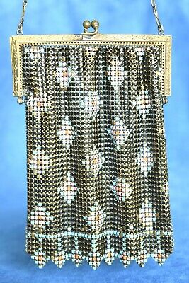 1920s Style Purses, Flapper Bags, Handbags Antique 1920's Painted Turquoise Pink Enamel Mesh Metal Flapper Chain Purse $110.00 AT vintagedancer.com