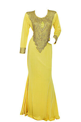 Traditional Classic Embroidered Spandex Beaded Kaftan/Gown/Abaya (Yellow, L)