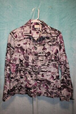 ⚜Woman's Printed Button down Jacket by Chico's size 1~Silver/plum/black