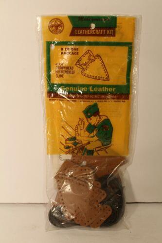 Vintage Boy Scout Leather Arrowhead Neckerchief Slide kit never opened