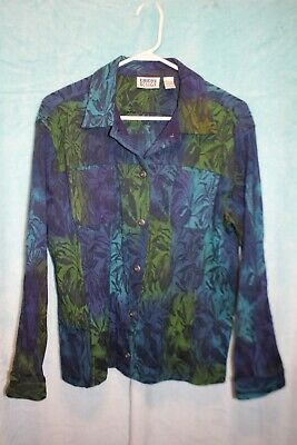 ⚜Woman's Printed Button down Jacket by Chico's Design size 1~teal/black