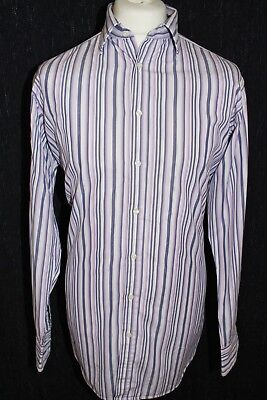 THOMAS PINK Mens Striped Superfine Two-Fold Long Sleeved Shirt Size 16.5 42/86cm