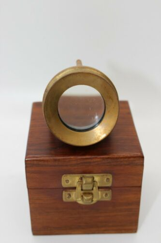 """Replica """"Antique"""" Brass Chart Glass Magnifier With Wooden Box"""