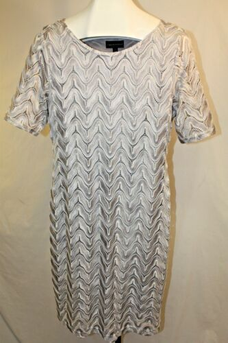 Connected Womens Ladies Silver Gray Short Sleeve Sheath Dress Size 14 New
