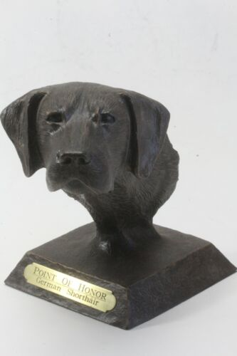 Point Of Honor Hand Crafted German Shorthair Carved Statue, Figure.