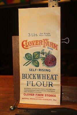 1940s Handbags and Purses History 1940's EMPTY Buckwheat Flour Bag 3 Lb Clover Farms Cleveland $5.00 AT vintagedancer.com