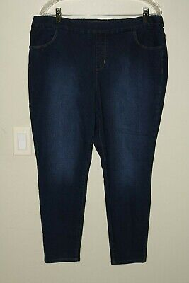 D & Co Blue Jeans Pants Rear Elastic Waist Band 5 Pockets Blue Sz 18WP Ret $35 Elastic Rear Band